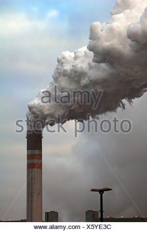 Smoking chimney of the Schkopau power plant, An der Bober 100, Schkopau, Saxony-Anhalt, Germany, Europe - Stock Photo