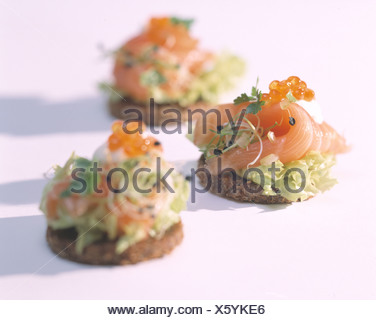 Cut out: salmon shalots tatar with pumpernickel - Stock Photo