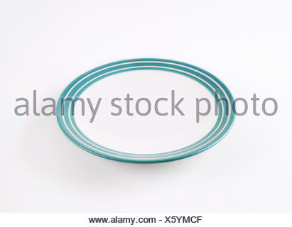 white and blue empty plate - Stock Photo