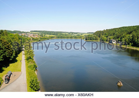 View from the dam, Brueningsen, Moehnesee lake, Moehne, reservoir, dam, North Rhine-Westphalia, Germany, Europe - Stock Photo