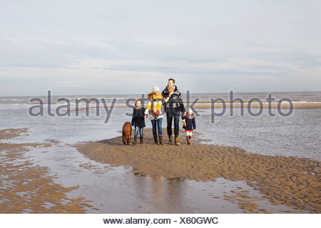 Mid adult parents with son, daughter and dog strolling on beach, Bloemendaal aan Zee, Netherlands - Stock Photo