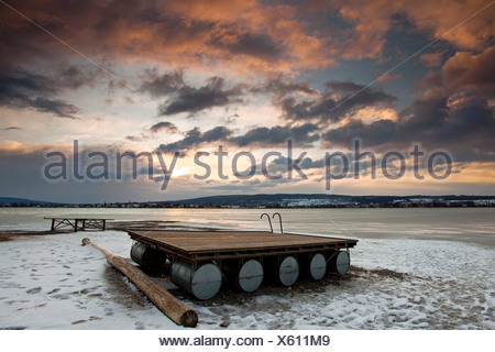 Floating pontoon in winter on Lake Constance, evening, Germany, Europa - Stock Photo