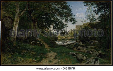 The Rocky Path in the Morvan (Chemin des roches dans le Morvan). Artist: Henri-Joseph Harpignies (French, Valenciennes 1819-1916 Saint-Privé); Date: - Stock Photo