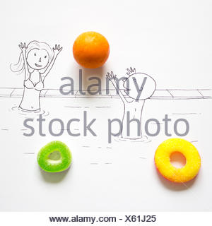 Conceptual drawing of a couple playing in a swimming pool - Stock Photo