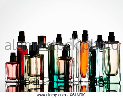 Close up of perfume bottles - Stock Photo