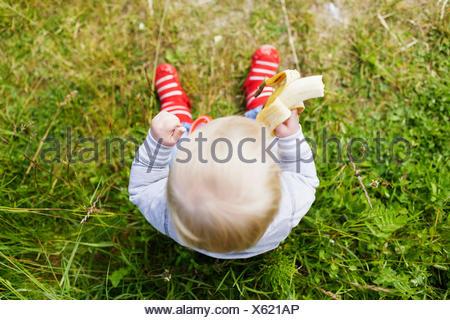 Directly above shot of baby boy holding banana on grassy field - Stock Photo