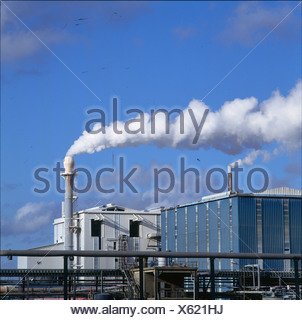Smoke emitting from smokestacks, Calais, France - Stock Photo