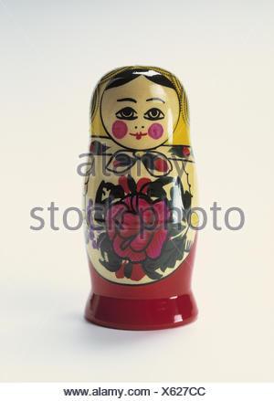 Matroschka Matroschka, Matrjoschka, figure, wooden, paints, wooden doll, souvenir, handicraft, folk art, in Russian, Still life, product photography, studio - Stock Photo