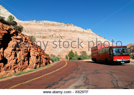Rotel Coach Rolling Hotel Near Checkerboard Mesa Sandstone Rock Formations Zion National