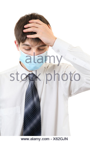 Sad Young Man in Flu Mask - Stock Photo