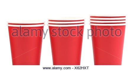 Three red paper cups - Stock Photo