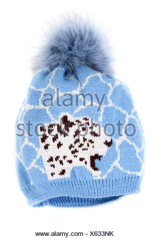 Blue knitted hat with pattern - Stock Photo