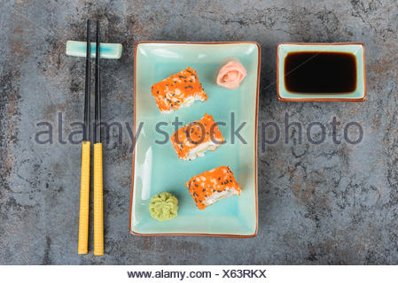 Sushi rolls on the table. Top view. - Stock Photo