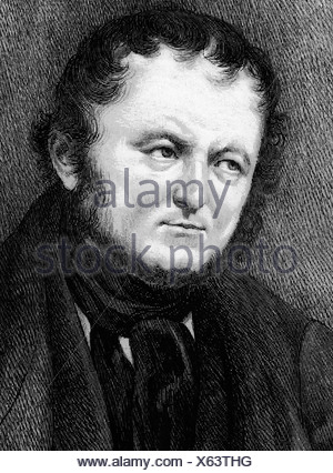 Stendhal (Marie-Henri Beyle), 23.1.1783 - 23.3.1842, French author / writer, portrait, after original drawing on scaled paper, - Stock Photo