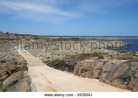 La Corbiere, causeway to the mainland - Stock Photo