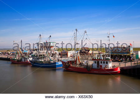 Crab cutters in the harbour, Greetsiel, Leybucht, Krummhörn, East Friesland, Lower Saxony, Germany, Europe - Stock Photo