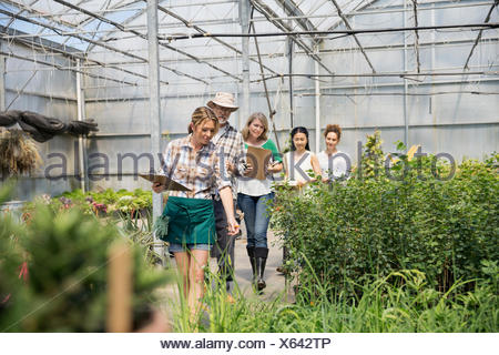 Workers with clipboards discussing plants in greenhouse - Stock Photo