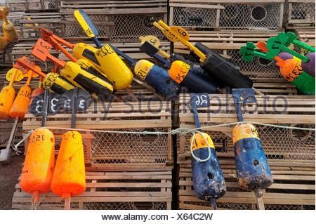 lobster traps and buoys, Nova Scotia, Prince Edward Island, Canada - Stock Photo
