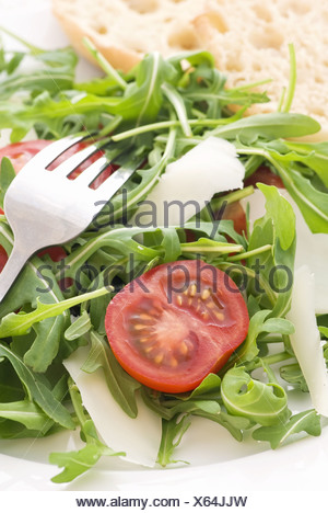 Rocket salad with tomato and pecorino - Stock Photo