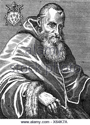 Paul III (Alessandro Farnese), 29.2.1468 - 10.11.1549, Pope 13.10.1534 - 10.11.1549, half length, copper engraving, 16th century, , Artist's Copyright has not to be cleared