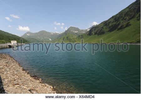 Switzerland, Ticino, Ritom, Piora, Quinto, lake, mountains - Stock Photo