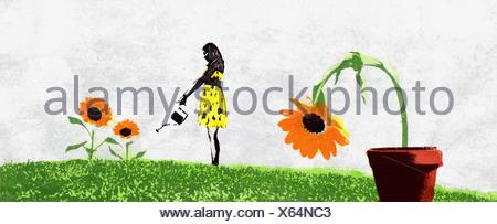 Gardener ignoring dying flower - Stock Photo