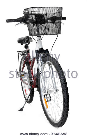 MTB mountain bicycle with a front basket - Stock Photo