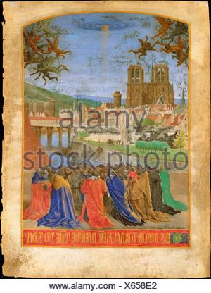 The Right Hand of God Protecting the Faithful against the Demons. Artist: Jean Fouquet (French, Tours ca. 1425-ca. 1478 Tours); Date: ca. 1452-1460; - Stock Photo