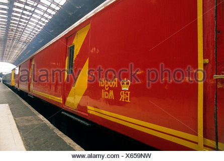 Paddington Station, Royal Mail Train coach TPO London traveling travelling post office England UK English - Stock Photo