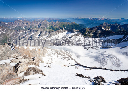 View from Hochfeiler Mountain over the valleys of Pfitschertal, Eisacktal and Wipptal and Marmolada Mountain, Dolomites - Stock Photo
