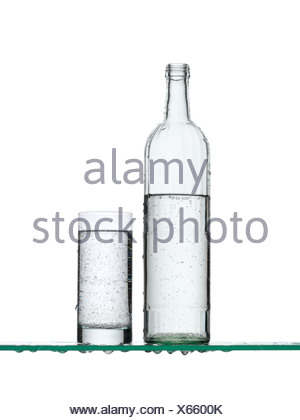Sparkling water in a bottle and a glass - Stock Photo
