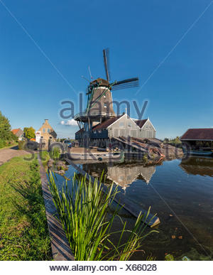 Netherlands, Holland, Europe, IJlst, Friesland, windmill, water, summer, Woodcutting windmill, Rat, Stock Photo