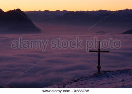 inversion over Inn Valley in winter, Austria, Tyrol, Alps, Kufstein - Stock Photo