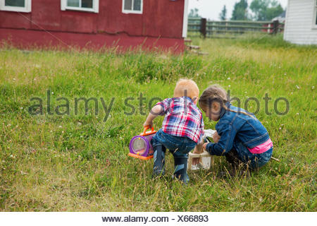 Brother and sister catching insects in field - Stock Photo