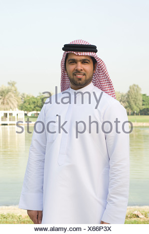 Portrait of a man wearing a gutra - Stock Photo