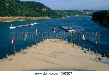 Ships on Mosel and Rhine, Deutsches Eck, Rheinland-Pfalz, Germany - Stock Photo