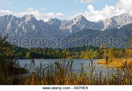 Barmsee bei KrŸn, Karwendel, Werdenfelser Land, Oberbayern, Bayern, Deutschland, - Stock Photo