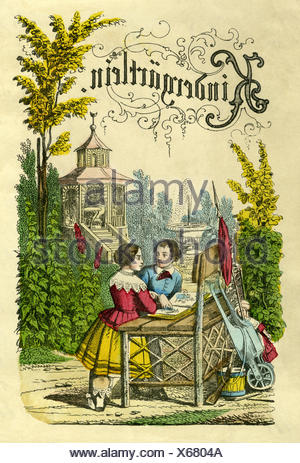 pedagogy, Kindergärtlein, kindergarten, children playing in the park, in the garden, Germany, lithograph, 1855, Additional-Rights-Clearences-NA - Stock Photo