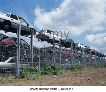 Car chassis at the metal recovery site - Stock Photo