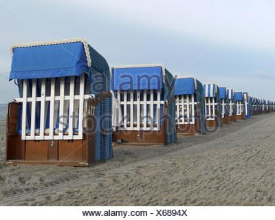 beach chairs at kühlungsborn, mecklenburg-vorpommern, baltic sea, germany - Stock Photo