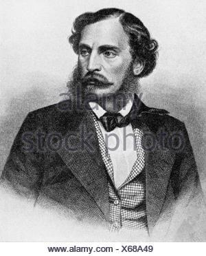 Dingelstedt, Franz Freiherr von, 30.6.1814 - 15.5.1881, German author / writer, theatre manager, portrait, after engraving, - Stock Photo
