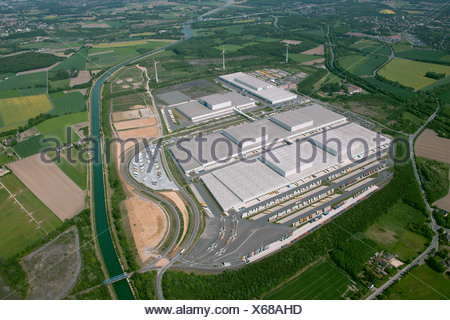 Aerial view, Kaufland Logistik Eving Logistik-Park Westfalenhuette logistics park, with compensating areas of former landfills - Stock Photo