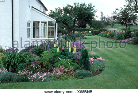 Blue perennial geraniums and pale yellow lupins with pink dianthus in a summer border beside a small white house - Stock Photo