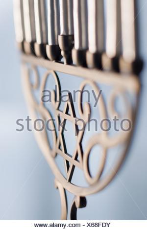 Close up of holiday menorah - Stock Photo