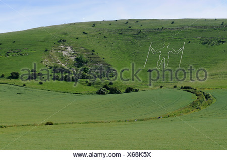 Long Man of Wilmington near Eastbourne, East Sussex, England, Great Britain, Europe - Stock Photo