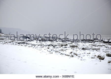 Pack ice, Elbufer, - Stock Photo