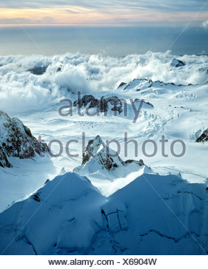 Southern Alps, aerial view, Aoraki/Mount Cook National Park, South Island, New Zealand - Stock Photo