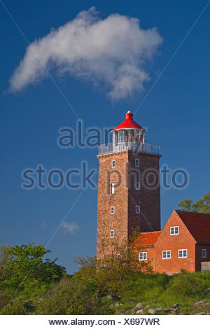 Denmark, Svaneke, lighthouse, the Baltic Sea, cloud, heaven, blue, morning light, spring, brick, house, orientation, navigation, navigation, - Stock Photo