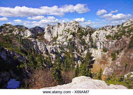 dolina in karst landscape, Croatia, Northern Velebit National Park - Stock Photo