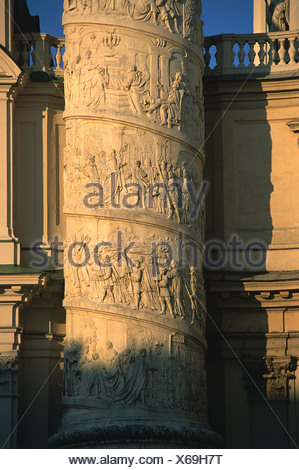 Austria, Vienna, Karlskirche , detail of column , Saint Charles Borromeo, flanking façade of St.Karl's Church - Stock Photo